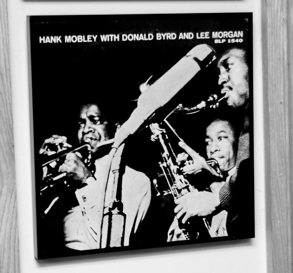 Hank Mobley with Donald Byrd and Lee Morgan record framed at the Lee Morgan Shrine in Harlem.