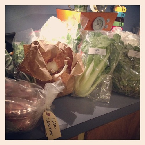 ~Even in winter~ Unpacking a counter full of LOCAL food: Greens, herbs, eggs, pastured beef bones for broth. Blessed & grateful for my local farmers & CoOp. #localfood #localfirst