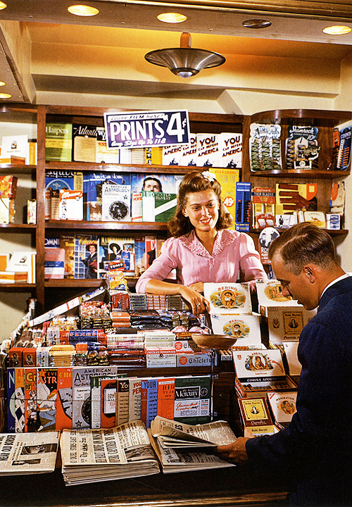 Rockefeller Center Newstand, 1941. Photo by Bernard Hoffman
