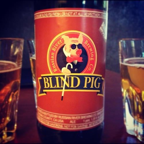 Russian River's Blind Pig. The label said to drink it right away so… what else could we do? Damn that's good.