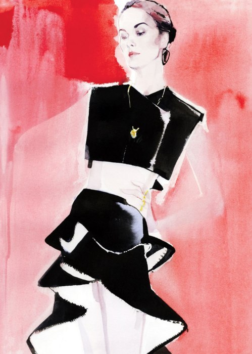 Michelle Dockery. Illustration by David Downton.