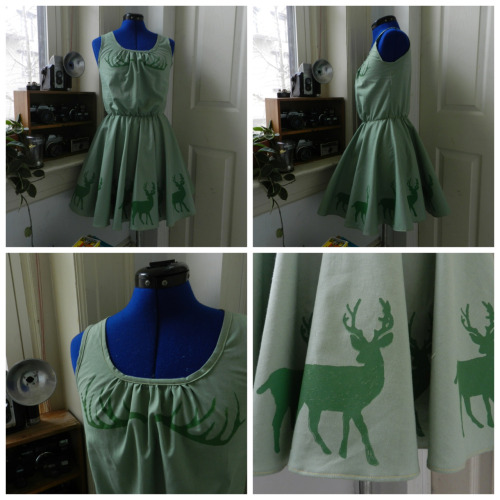 Hand printed Deer Mini Dress on comealongfawn.etsy.com  https://www.etsy.com/listing/121308729/hand-printed-deer-mini-dress?ref=v1_other_1