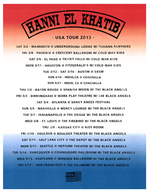+++ USA TOUR DATES +++
