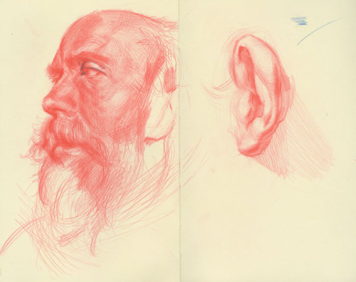 Copy of an Adolph Menzel drawing on the left, Ribera copy on the right. These sketches were done infront of the original drawings at the Met in their drawing study room. Red, and a little blue, pencil in my sketchbook.