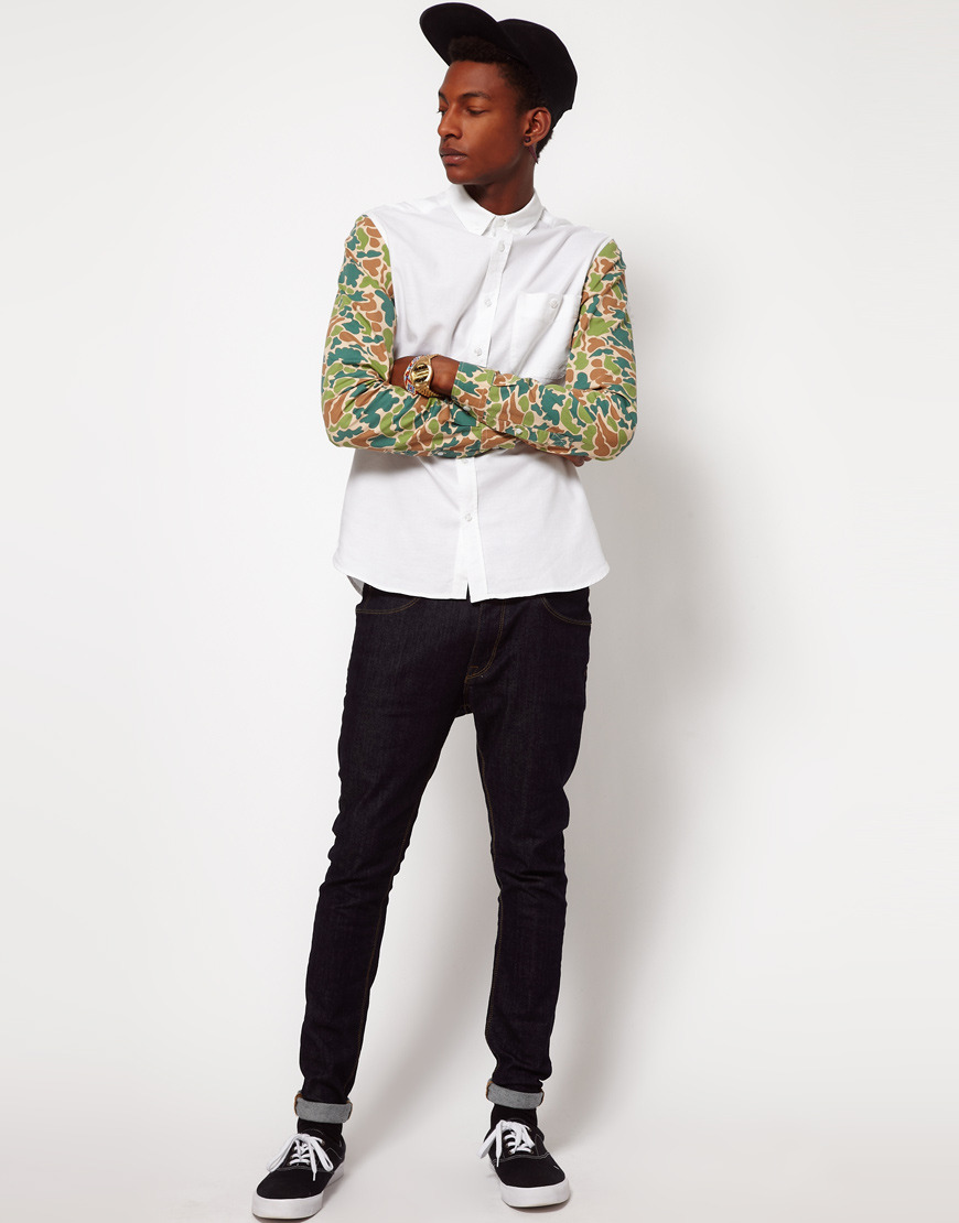 ASOS Oxford shirt with camo sleeves