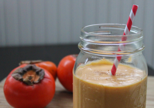 Recipe: Persimmon Creamsicle Smoothie     I always prefer a fresh fruit smoothie over the frozen fruit kind. This persimmon smoothie is no exception. With coconut milk, orange juice and ripe persimmon, this drink is earthy and sweet, spicy, and just slightly tart. Oh, and it's vegan!