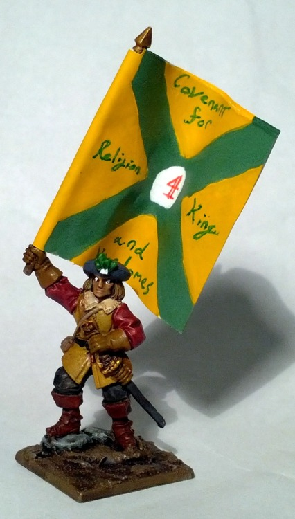 Scots Covenanter ensign, from Warlord Games 'Pike & Shotte'  The standard isn't from any historical unit, but I based it off several examples in Osprey Publishing's Scots Armies of the English Civil Wars.