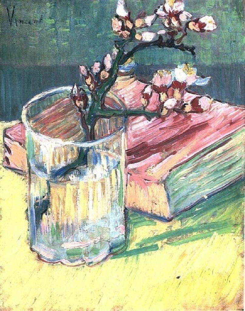 routesix:  Blossoming Almond Branch in a Glass with a Book - Vincent van Gogh