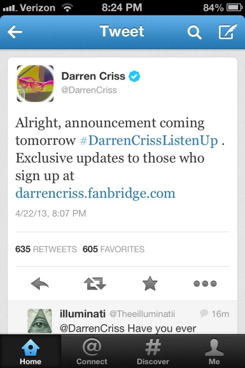 Darren stop toying with us! NEE TO KNOW NOW