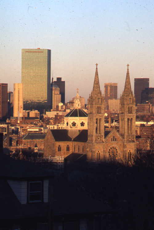 Boston skyline from Parker Hill, 1975 December.  Peter H. Dreyer slide collection, Collection #9800.007, City of Boston Archives.  This work is free of known copyright restrictions.  Please attribute to City of Boston Archives and credit Peter Dreyer.. For more images from this collection, click here
