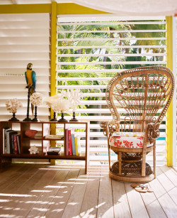 Tropical boho vintage decor ~Le Banane, Lonny magazine, May 2013