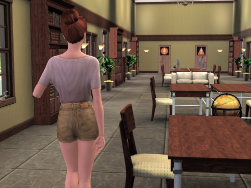 While Ken was out partying, Ingrid was at the library studying.  She was quite pleased that she had the whole place to herself.