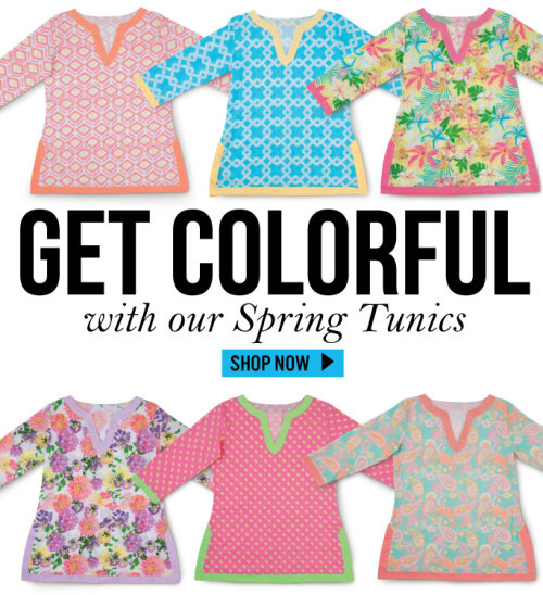 Get Colorful with our Spring Tunics. 6 fun and trendy designs to choose from.  Available at allforcolor.com + Get free shipping on orders over $50 with promo code:  SPRING2013