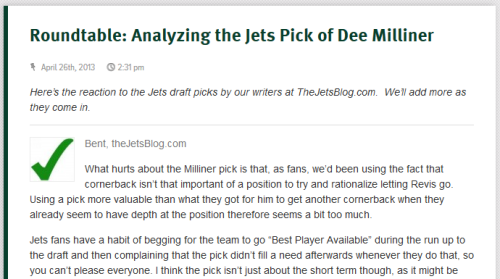 cgriffin415:  Dee Milliner was widely regarded as the draft's top cornerback, but one thing he'll never escape is that fact that he's replacing Darrelle Revis.