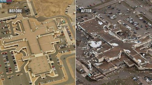 Moore Medical Center — before the massive tornado, and after.   How anyone survived is amazing. How an infant, a mere hour old survived, is downright miraculous. http://on.msnbc.com/180T7E8