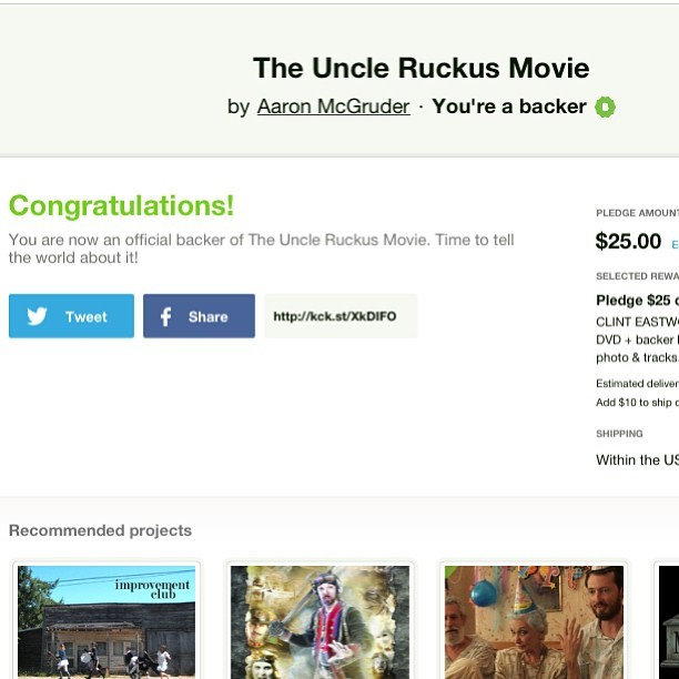 I am a backer for this project #Kickstarter #uncleRuckus http://www.kickstarter.com/projects/362353100/the-uncle-ruckus-movie