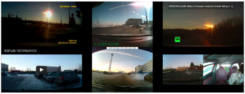 "6 videos of the Siberian meteor, synchronised by the New York Times. ""Sousveillance now provides multi-perspective, steadicam-ed, high-definition coverage of unique events. The brilliant #dashcam #newnormal."" - Timo Arnall From the archive: Why Dashcams are so prevalent in Russia."