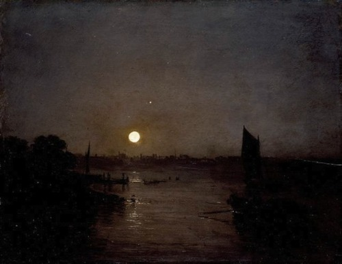 apoetreflects:  Painting: Joseph Mallord William Turner, Moonlight, a Study at Millbank, 1797