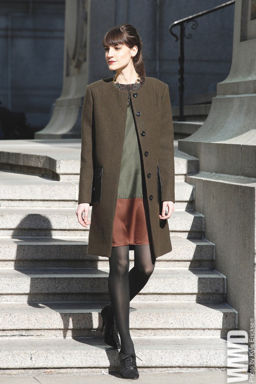 womensweardaily:  Fall 2013 Trend: Watch Your Tone Raoul's wool and leather coat and Kas' silk dress. Bounkit necklace; Tracy Reese shoes.