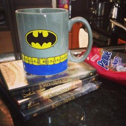 it's been a great morning thus far! hazelnut coffee in my batman mug, The Lord of the Rings Trilogy, and some pound cake. Merry Christmas Eve! ☺ #batman #coffee #merrychristmas #lotr #lordoftherings
