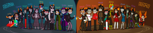 xamag-homestuck:  Hey remember how all post-scratch trolls were standing in front of that door before Wreck-It-Jack appeared? HERE THEY ARE. ALL OF THEM. AND MORE. Maybe I'll post some sketches. But in fact, my work here is done.