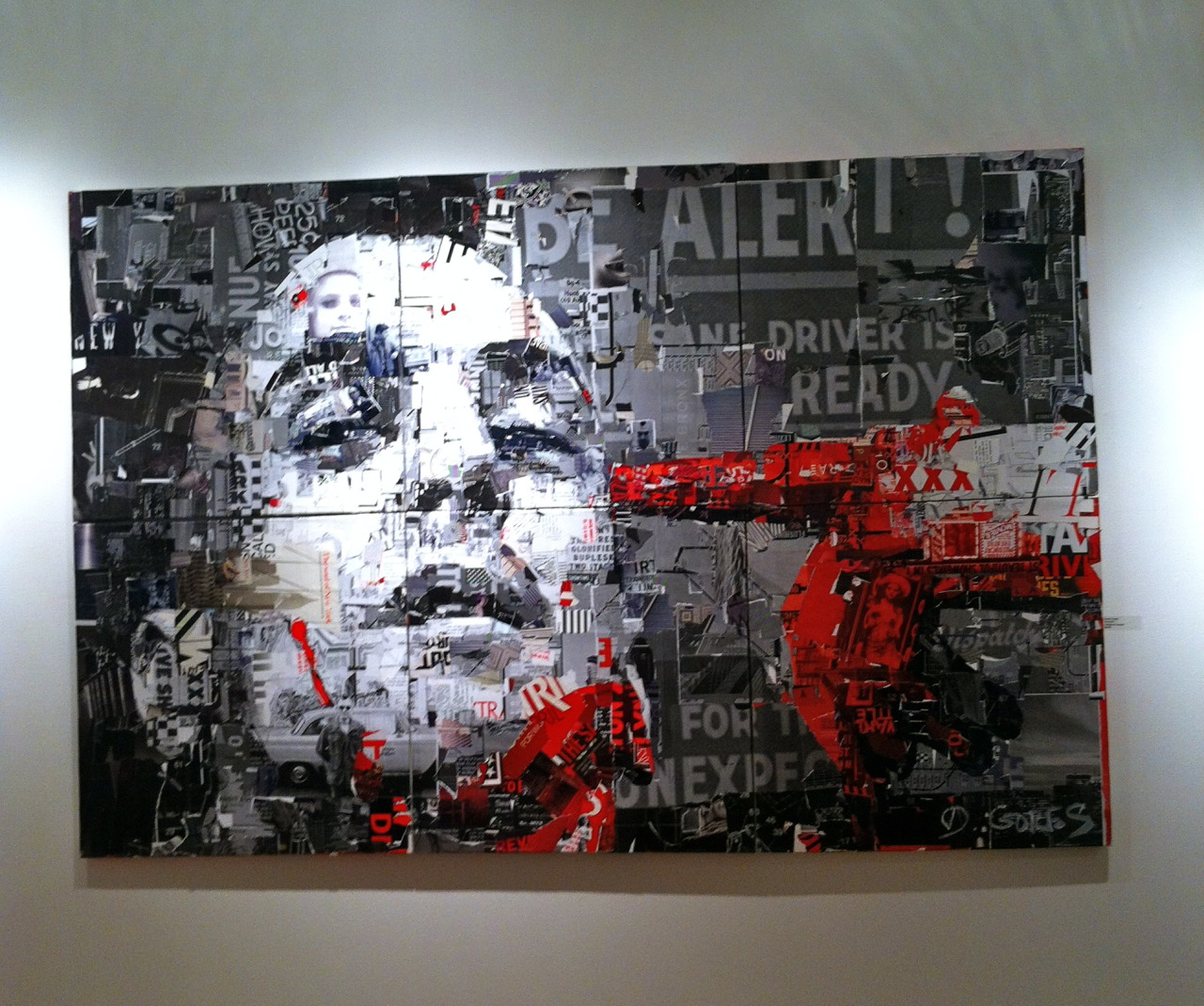 """Be Alert!…"" by New Yorker artist Derek Gores, collage on canvas, ""…in his collage portraits, Derek Gores recycles magazines, labels, data, and assorted found analog and digital materials to create the works on canvas….""  Last week-end Bold Hype Gallery, an art space in Chelsea, hosted ""Scorsese: An Art Show Tribute,"" an exhibition commemorating the life and work of one of New York City's most beloved filmmakers."