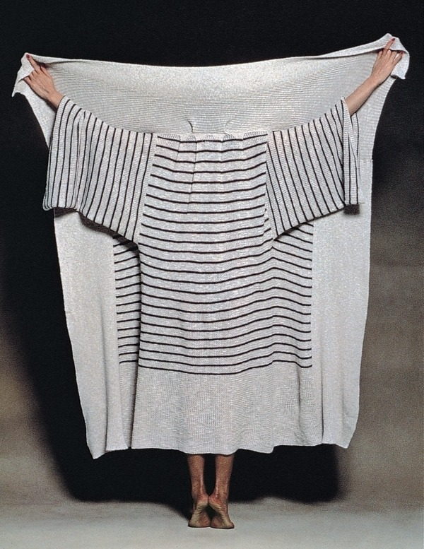 vroomheid:  Issey Miyake, 1977  I became the first clothing designer to receive a mainichi design award. This is my first collection called east meets west, directed in the following year by Ikko Tanaka, who was on the panel of judges for this prestigious prize.  Upon assuming this directorial position, he rented a small apartment and set up his design studio.   issey miyake & kazuko koike: east meets west