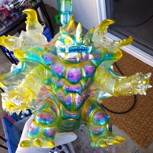 maxtoyco:  WiP #kaiju #Zanga clear #sofubi #custom by Mark Nagata using #monsterkolor Cthru paints :-)