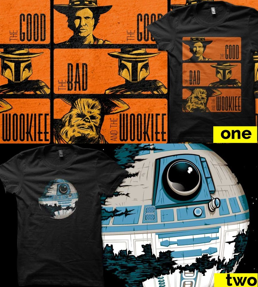 Qwertee is choosing wich one it's going to be printed, my design is the number one: the good, the bad and the wookie and you can put a comment on facebook with your choice :D.  Click here or in the image By the way thanks for all your loving it's more than 1000 likes!!