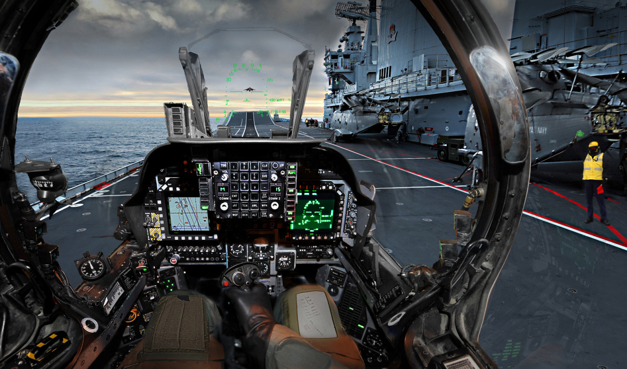 modoxduece:  Harrier Pilot Prepares for Takeoff A digitally manipulated image of a Harrier pilot's view as he prepares to take off from aircraft carrier HMS Ark Royal. This image was the winner of the Digital Imaging Award in the Royal Navy's Prestigious Peregrine Trophy Competition 2010. Photographer: POA(Phot) Jonathan HamletImage 45151641.jpg from www.defenceimages.mod.uk