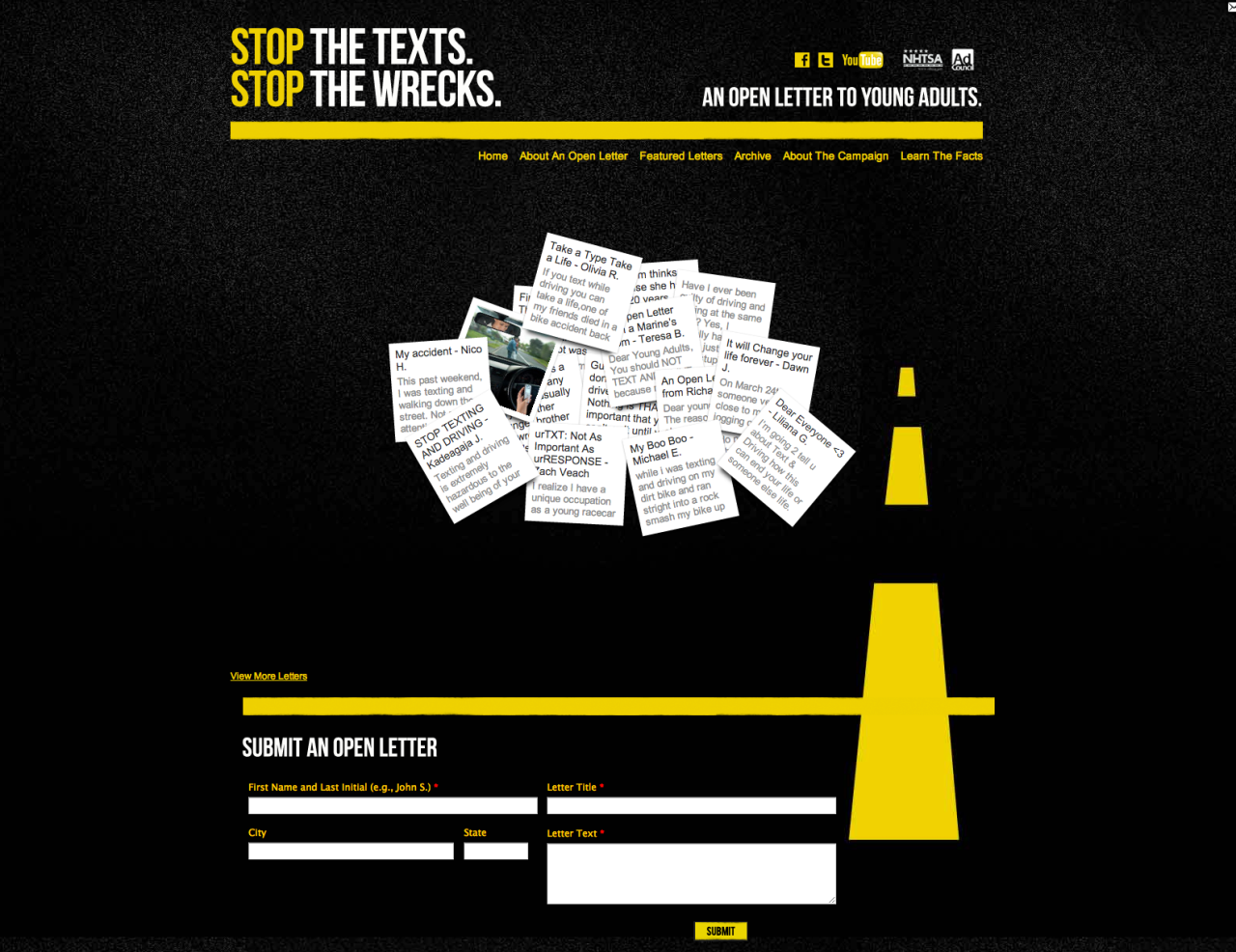 "The Ad Council's ""Stop the texts. Stop the wrecks."" campaign is on Tumblr."