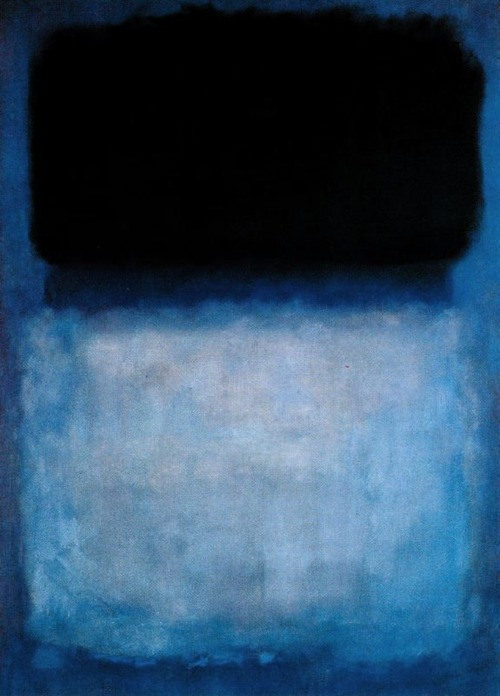 "brendonneuen:  Mark Rothko, Green Over Blue, 1956.""I'm not an abstractionist. I'm not interested in the relationship of color or form or anything else. I'm interested only in expressing basic human emotions: tragedy, ecstasy, doom, and so on."""