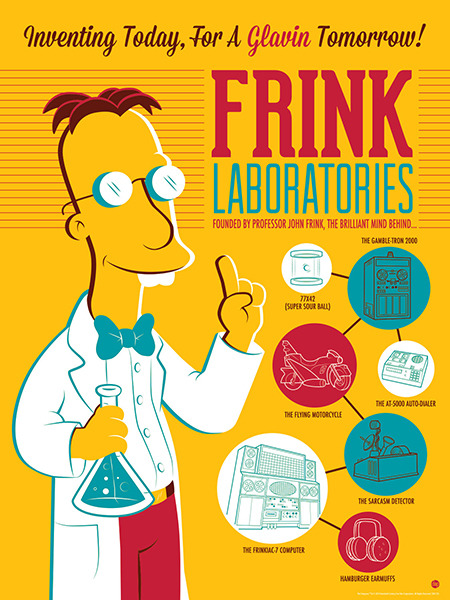"""Season 25 of The Simpsons marathon is beginning! …and the winner of """"Frink Laboratories"""" by Dave Perillo is Chad Boyd Congratulations to our winner! :)  The silkscreen is now available for purchase at darkinkart.com"""