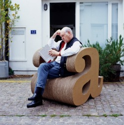 "typophile:  (via Eclectic from Iowa / Alexie Sommer's a chair made from 250 sheets of cardboard. Take ""A"" chair.)"