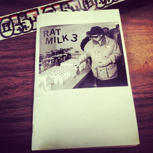 "Received our personal copy of #RatMilkZine 3 today. Don't sleep on this one: Rat Milk 3 $10.00  RAT MILK 3 is more of the same! Features photos taken around 2010 of graffiti, stickers, gates, fire hydrants, doors, trucks and grime in NYC.  Black and white laser print with cardstock cover. 48 pages. 8.5"" x 5.5"". Published 2013. Each zine is signed and numbered. Edition of 100. Comes with stickers, 2 are hand drawn.  FREE SHIPPING in the US for single orders, reduced shipping for multiple orders or worldwide!  Available here: http://ratmilkzine.bigcartel.com/product/rat-milk-3"