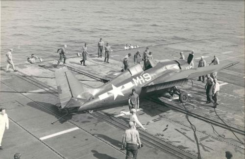 Carrier Crashes…Image #2: A Grumman FM-2 Wildcat crashed on landing on the USS Sable