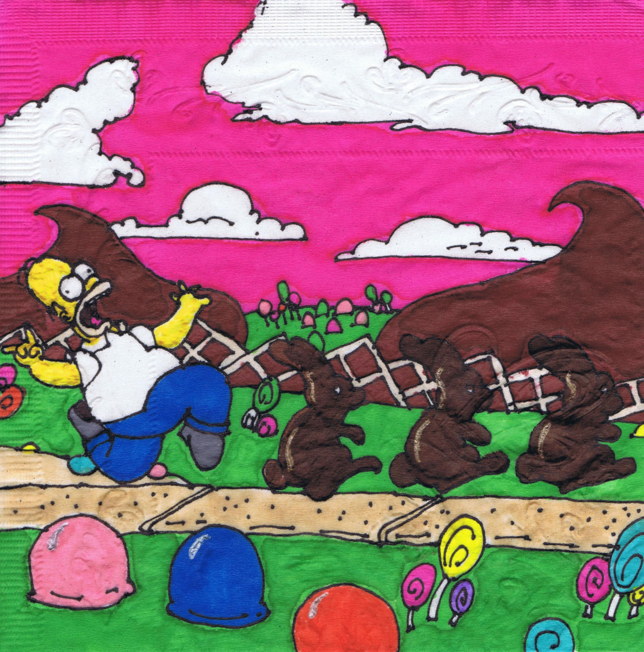Happy Easter! Homer in Candyland.  New holiday napkin art, 2013.