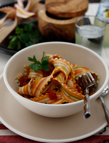 Striped Pasta with Tomato Sauce