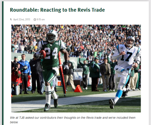 cgriffin415:  The Jets finally traded Darrelle Revis and Brian asked me to weigh in. There's talk of window dressing, Christmas and Woody Johnson's ATM code.