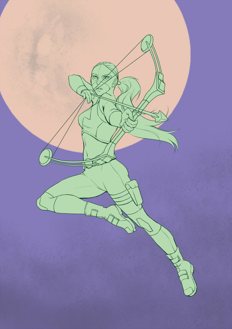 continue on archer posing exercising. Artemis. This time's pose reference: http://senshistock.deviantart.com/art/Flame-Sniper-Pose-Reference-339112361