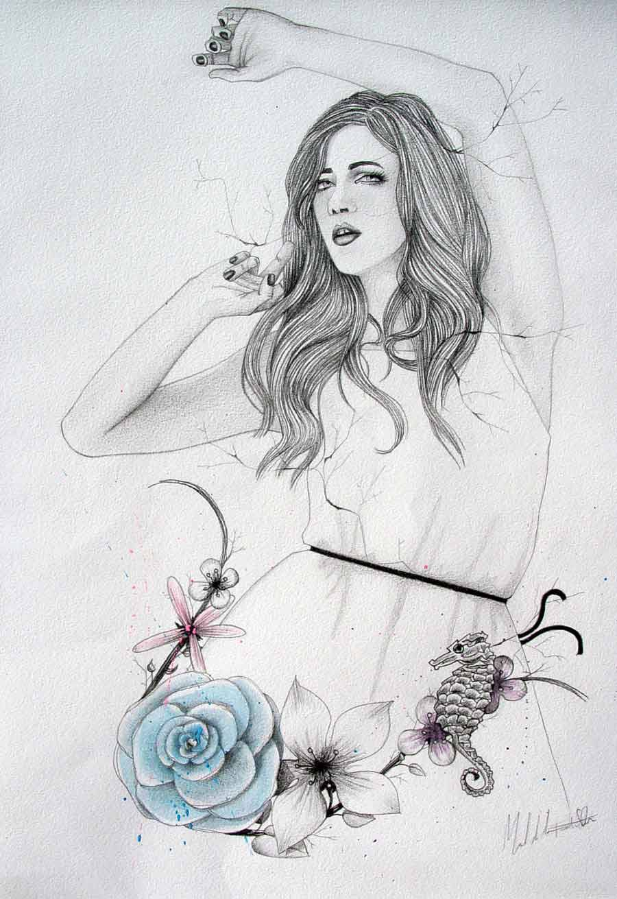 "#illustration ""LM&DR6"" / Live muses & dead roses project, pencil & watercolors, by Manuel De La Fuente Baños / manuelsart.com illustration ©2013"