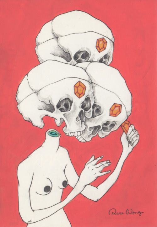 rosewong:  Skulll ' Rose Wong graphite, acrylic and colorer pencil on mylar