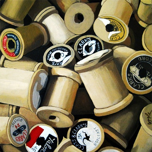 stilllifequickheart:  Linda Apple Vintage Wooden Thread Spools 2012