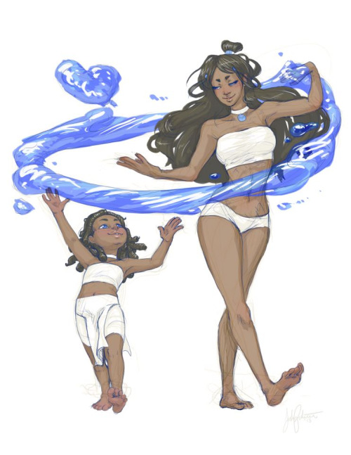 "lunadonna:  ""Kya and Katara - First Waterbending Lesson"" by Sasha Palacio"