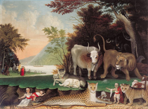 "Exploring Science Fiction: Man vs. NatureEdward Hicks's Peaceable Kingdom, ca. 1848 Today we continue to focus on Kelly Richardson: Legion—and the Science Fiction Film Festival that will be presented in conjunction with the exhibition during M&T FIRST FRIDAYS @ THE GALLERY this Friday—by highlighting themes commonly found in science fiction films and their art historical counterparts.  In the subgenre of sci-fi horror films, the theme of Man vs. Nature is prevalent, gaining pop culture notoriety through often cheesy ""nature strikes back"" films. Instead of the threat of Earth being invaded by life from outer space, man is pitted against frankenfish and arachnids on the attack. Edward Hicks (American, 1780–1849), however, aimed to depict a more peaceful existence between man and beast. The scene above—inspired by the Biblical Book of Isaiah's prophetization of the coming of Christ to a peaceful world in which man and nature cohabitate in harmony—is more hopeful than its filmic counterparts."