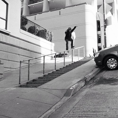 supradist:  Silas Baxter-Neal smith grinds into a steep one in SF. Photo: Joe Brook.