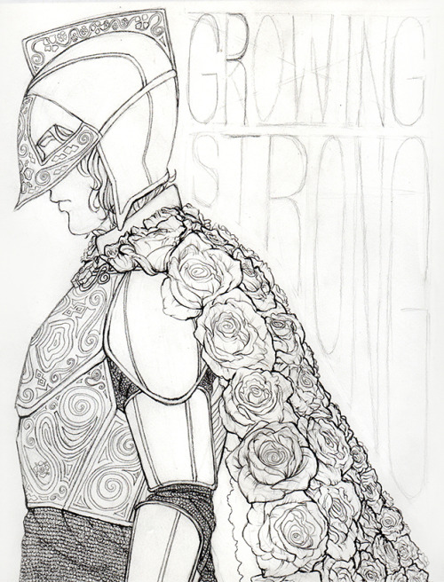 "ljzoelle:  Lines for my Tyrell ""Growing Strong"" poster featuring Loras and his beautiful cape of roses."
