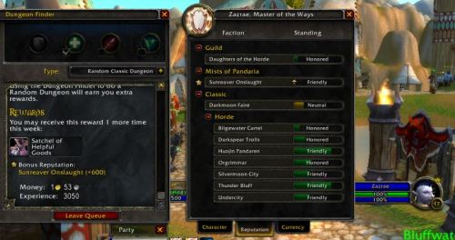"Zazrae, level 17 disc priest, earning +600 Sunreaver Onslaught (Pandaria-faction) rep for running Wailing Caverns.  step 1:I did the dailies on the island & got some tattered historical parchments. (I have had *really* good luck getting tons of parchments from the treasure-finding-purple-key-scenario.) Step 2: talk to the Kirin Tor quarter master to purchase Bind-on-Account rep tokens for 25 rep each. step 3: Mailed them to Zazrae (level 17 troll). The tokens automatically switch to the horde-only rep ""Sunreaver Onslaught."" step 4: login to Zazrae, go to the Reputation screen, click the STAR next to Sunreaver Onslaught. Queue for dungeon. WIN. Bonus: I also previously purchased the Grand Commendation of the Kirin Tor that gives the up-arrow rep bonus. This commendation also transfers automatically to Sunreaver Onslaught. All this = easily Revered with them before I get to 90!"