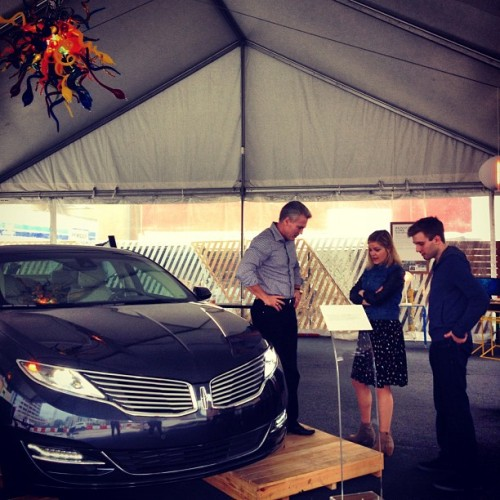 Brad Smith, Cole Wilson, & Austin Carr checking out the #LincolnMKZ before Brad's Creative Conversation at #FCGrill. (at Fast Company Grill)