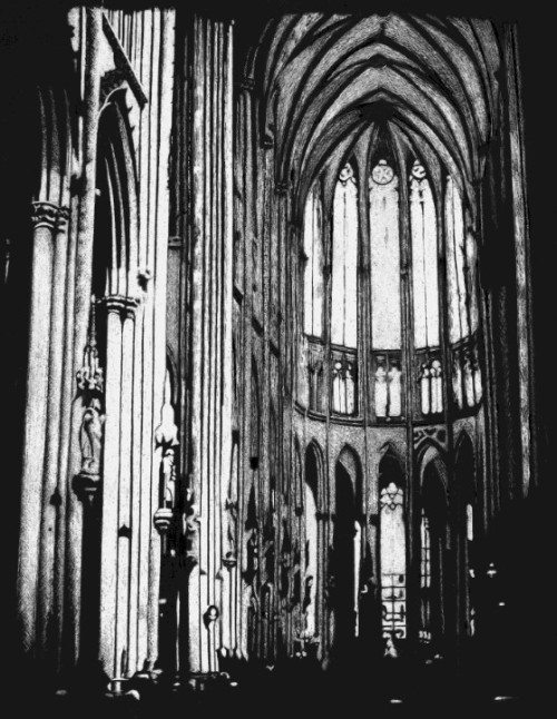 "8""x11"" scratchboard Cologne Cathedral (reference photo used)"